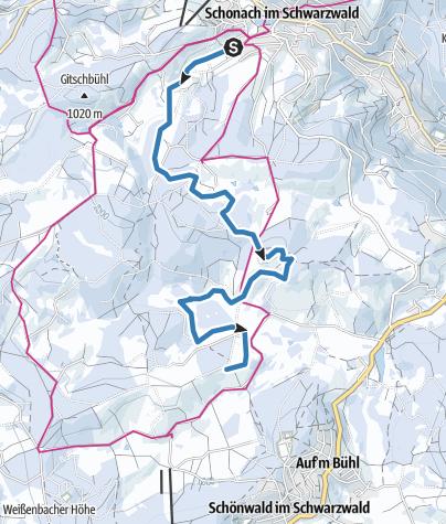 Map / Schonach - Fernskiwanderweg, Etappe Schonach - Weißenbach