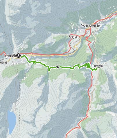 Map / Mit Kinderwagen Von Sedrun nach Curaglia