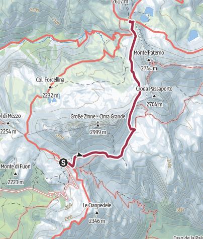 Mapa / Ruta lineal - Tre Cime di Lavaredo