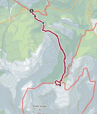 Mapa / Ruta a Lago di Sorapis