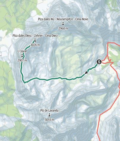Mappa / Escursione: ascesa dalla malga di Fanes alla cima Sas dles Diesc