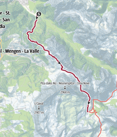 Mappa / Escursione da San Vigilio attraverso il passo S. Antonio fino all' alpe di Fanes