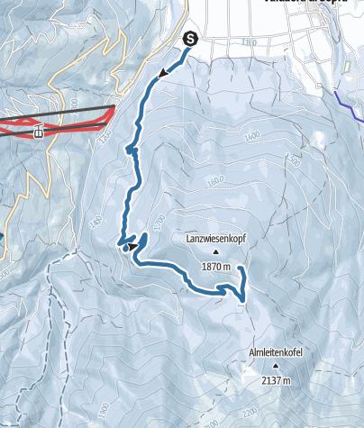 Map / Winter shoe hike Voppichl hut - Lanzwiesen hut