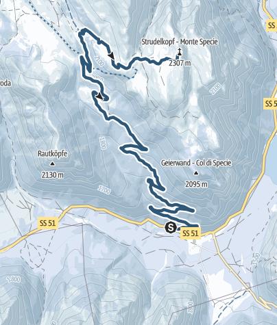 Map / Ski tour: Carbonin/Schluderbach - Monte Specie/Strudelkopf