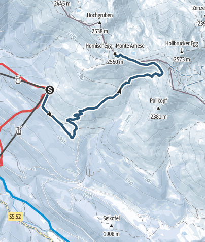Map / Ski Tour - Monte Arnese/Hornischegg