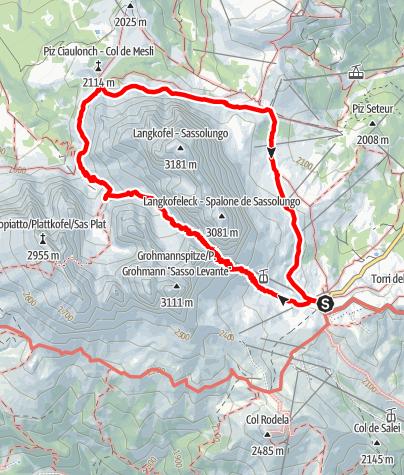 Karte / Rundwanderung um den Langkofel