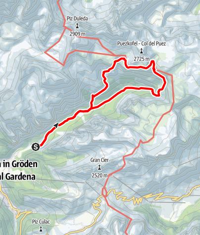 Cartina / Escursione dalla Vallunga al Rifugio Puez