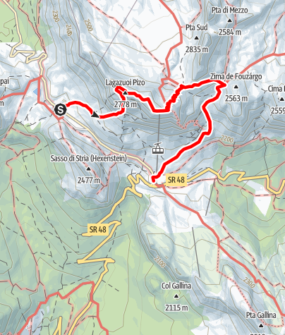 Map / From Passo Valparola to the Lagació/Lagazuoi peak on the Kaiserjäger trail