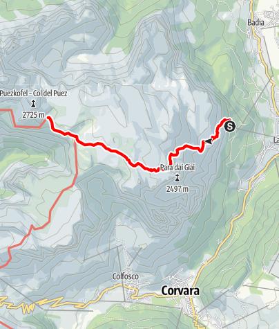 Cartina / Escursione da La Villa al Parco Naturale Puez  - patrimonio UNESCO