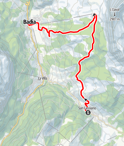 Map / Excursion from San Cassiano to Sas dla Crusc/Santa Croce and Badia