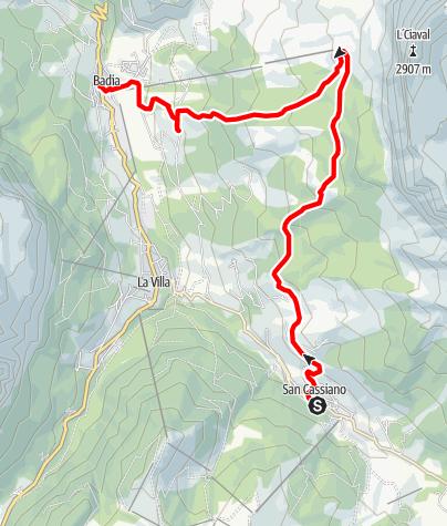 Cartina / Escursione da San Cassiano a Badia per Santa Croce