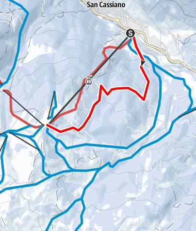 """Map / Natural toboggan run """"Tru liösa Foram"""" in San Cassiano"""