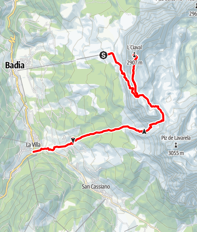"Karte / Aufstieg zum ""Le Ciaval"" Gipfel am Sas dla Crusc/Heilig Kreuz"