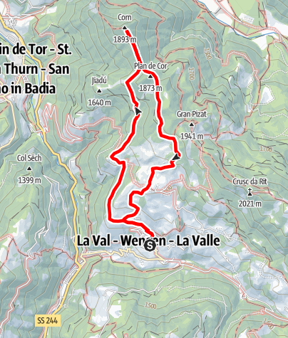 Map / Circular Hike La Val – Ciampëi – Côr – Biei – La Val