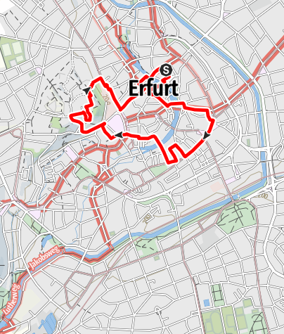 Karte / Touren-Tipp am Lutherweg: Erfurt - Erste Schritte für eine neue Kirche