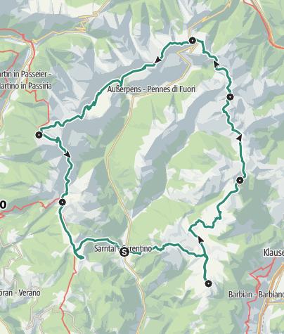 Karte / Hufeisentour in den Sarntaler Alpen