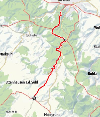 """Karte / Touren-Tipp am Lutherweg: """"Wo alles anfing"""" - Vom Lutherstammort Möhra zur Wartburg nach Eisenach"""