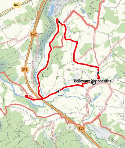 "Kaart / Plezierwandeling 6 - ""Het mooie platteland"" Bellevaux"