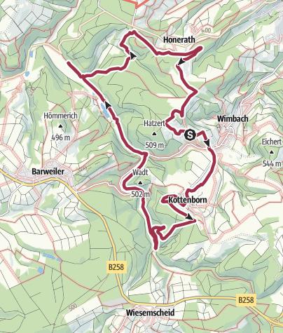 """Karte / Müllenwirft-Schleife im Naturschutzgroßprojekt Obere Ahr-Hocheifel """"Wandern im Adenauer Land"""""""