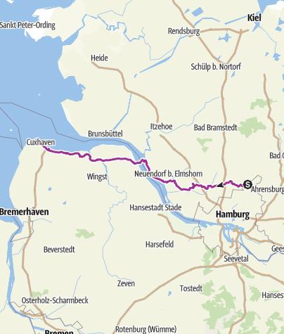 Karte / Radtour Hamburg- Cuxhaven(Fähre)