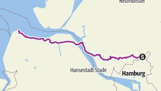 Mapa / Radtour Hamburg- Cuxhaven(Fähre)