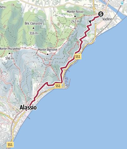 Map / Albenga Alassio Via Romana (Julia Augusta)