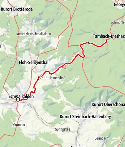 """Karte / Lutherweg: Etappe 05 - """"Vom Steine befreit..."""" - Schmalkalden - Rennsteig - Tambach-Dietharz"""