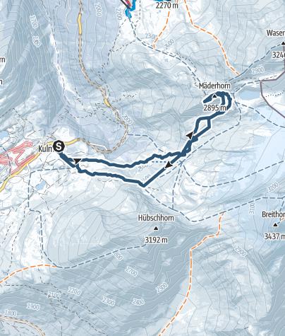 Karte / Mäderhorn (2852m) von Simplonpass aus