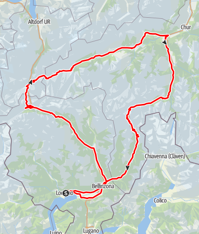 Map / St. Gotthard Pass-Oberalp Pass-S.Bernardino Pass