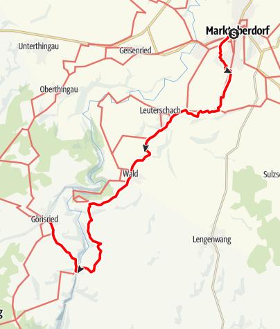 Karte / Münchner Jakobsweg im Allgäu, Variante Marktoberdorf - Görisried