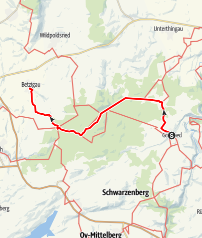 Karte / Münchner Jakobsweg im Allgäu, Variante Görisried - Betzigau
