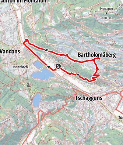 Karte / Kirche Gantschier über Kirche Bartholomäberg