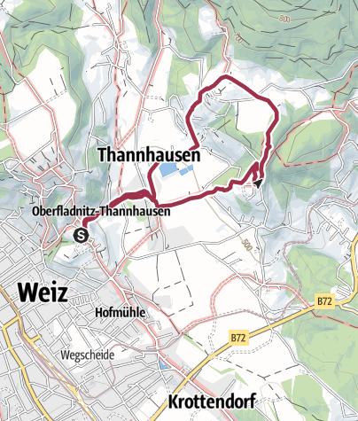 Karte / Rundwanderung: Weizberg - Kalvarienberg - Raas-Dorf - Dörfler Bacherl