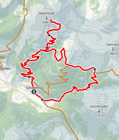 Map / Schoppernau | Diedamskopf - Neuhornbachhaus