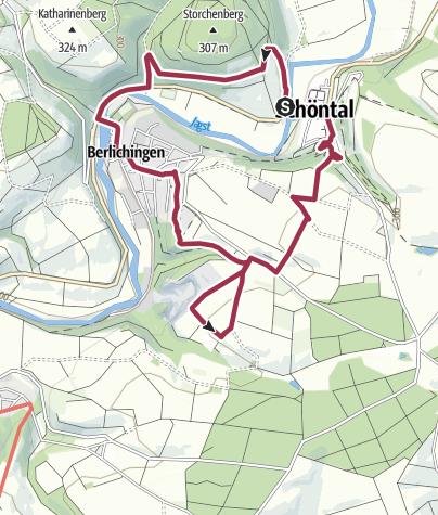 Karte / Pfad der Stille Schöntal Tour 2 Ritter und Mönche (Schöntal - Storchenturm - Berlichingen - Schöntal)