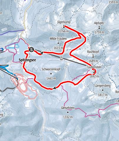 Map / Jägerkamp (1.746m), Rauhkopf (1.689m) und Taubenstein (1.692m) vom Spitzingsee, mittelschwere Runde über dem Spitzingsee