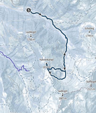 Karte / Hahnenkampl 1812m Südvariante