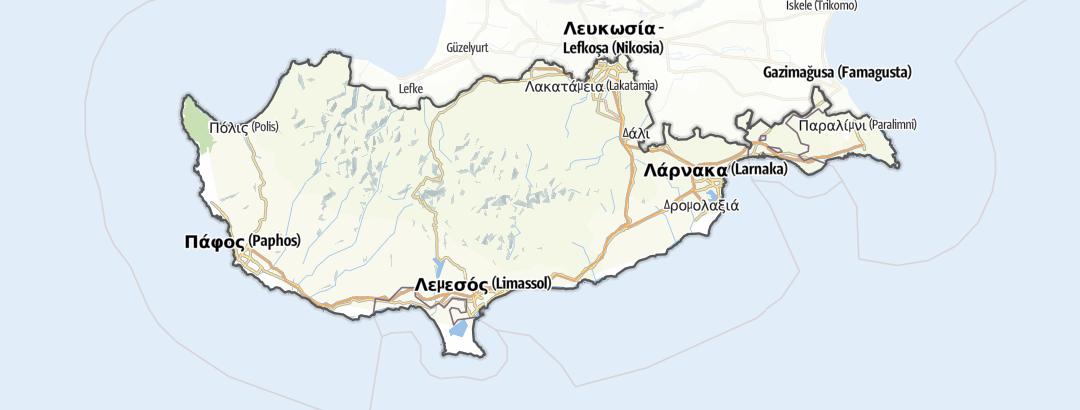 מפה / טיולים רגליים ברחבי South Cyprus