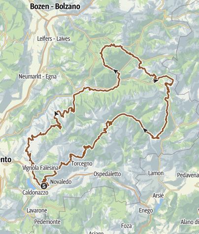 Karte / Grand Tour Dolomiti Lagorai Bike