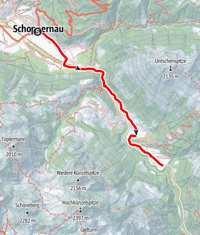 Karte / Schoppernau | Hinterhopfreben Felderweg