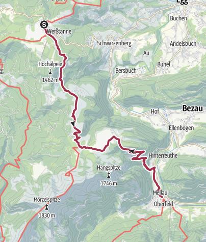 Map / Schwarzenberg   Bödele - Mellau