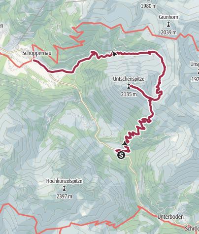 Karte / Schoppernau | Hopfreben - Üntschenspitze
