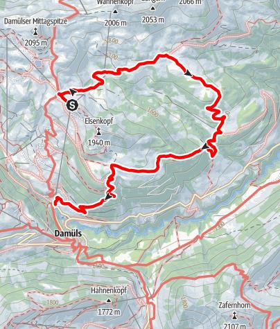 Karte / Damüls | Ugaalpe - Mittelargenalpe - Metzleralpe