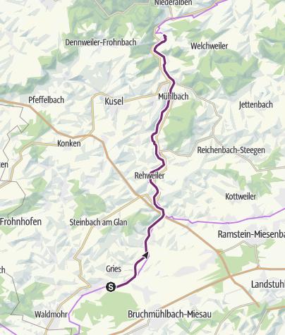 Karte / Glan-Blies-Radweg - Etappe 3 (Schönenberg-Kübelberg - Ulmet)