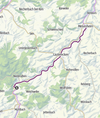 Carte / Itinéraire cyclable Glan-Blies - étape 4 (Ulmet - Meisenheim)