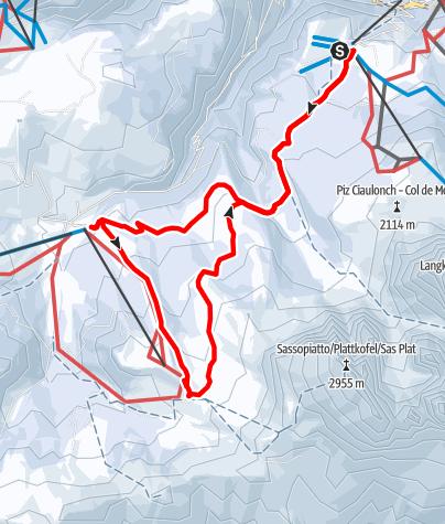 Map / Winter hike Monte Pana to Alpe di Siusi