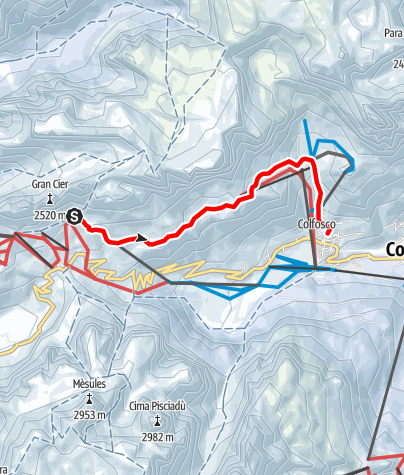 Map / Snowshoe Hike from the Gardena Pass to Colfosco