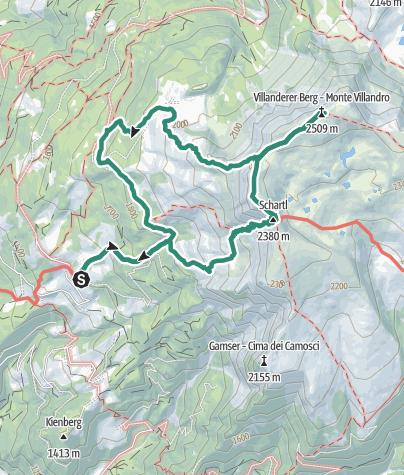 Map / Sarner Scharte Gap and Villanderer Berg Mountain