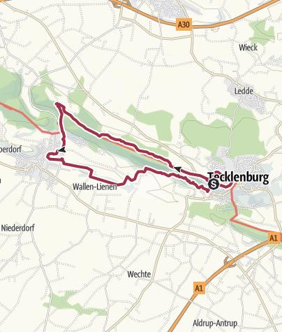 """Karte / Tecklenburg, Münsterlandblick, Teutoschleife """"Tecklenburger Bergpfad"""" mit Erweiterungen in Brochterbeck und Tecklenburg"""
