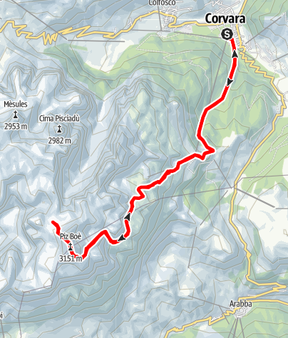 Map / Mountain running from Corvara to Piz Boè